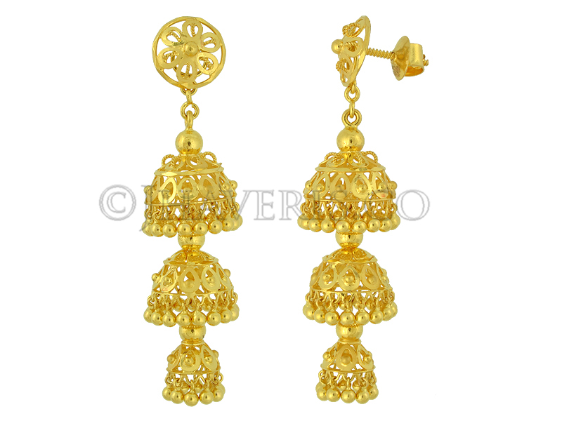 Welcome To Jhaveris ::Jewellery-Gold Earrings